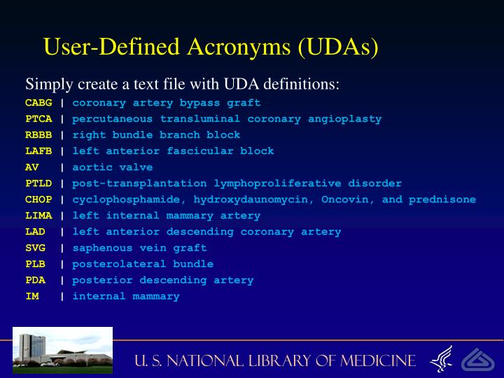 User-Defined Acronyms (UDAs)