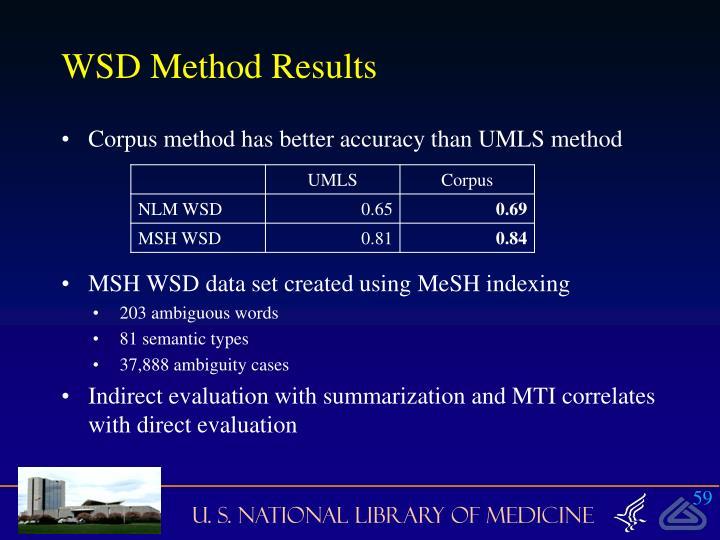 WSD Method Results