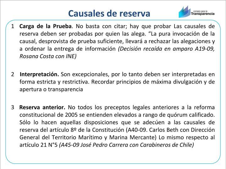 Causales de reserva