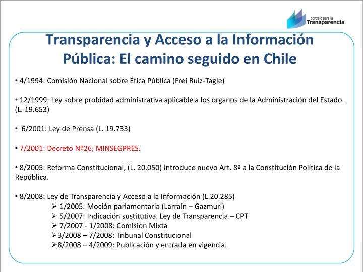 Transparencia y Acceso a la Información Pública: El camino seguido en Chile