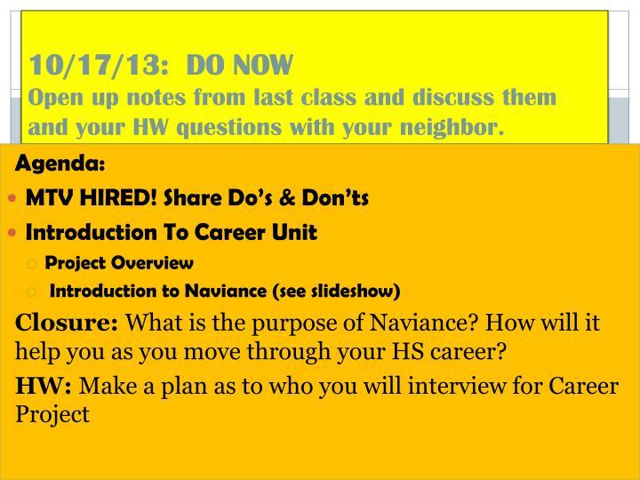 10/17/13:  DO NOW
