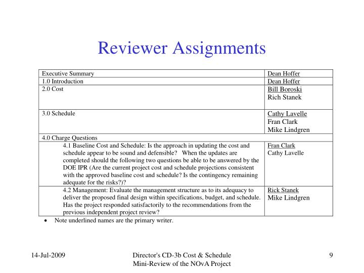 Reviewer Assignments