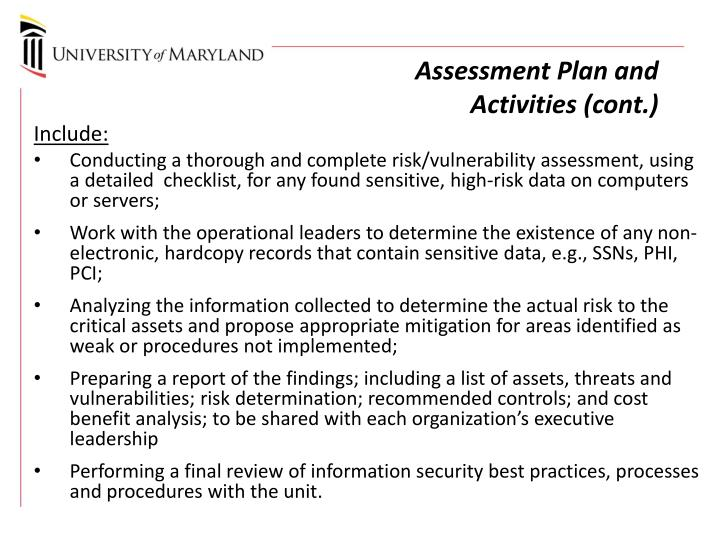 Assessment Plan and Activities (cont.)
