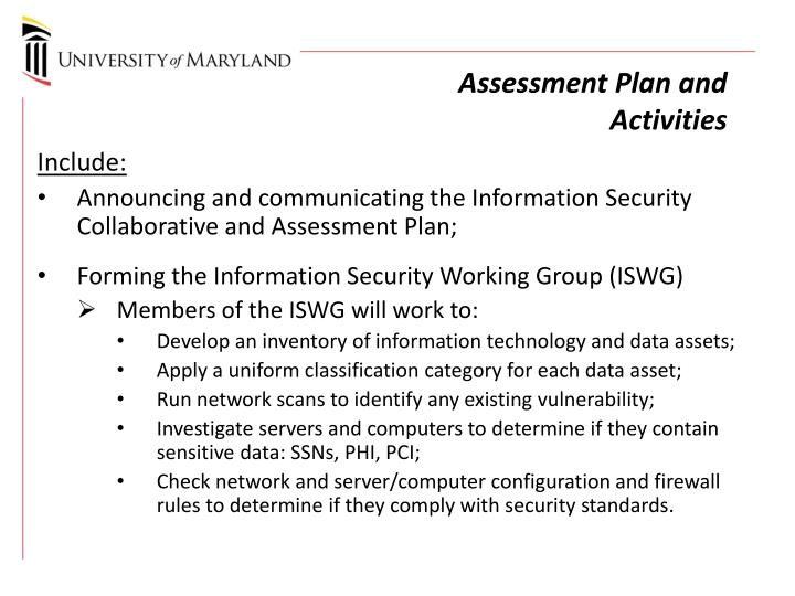 Assessment Plan and Activities