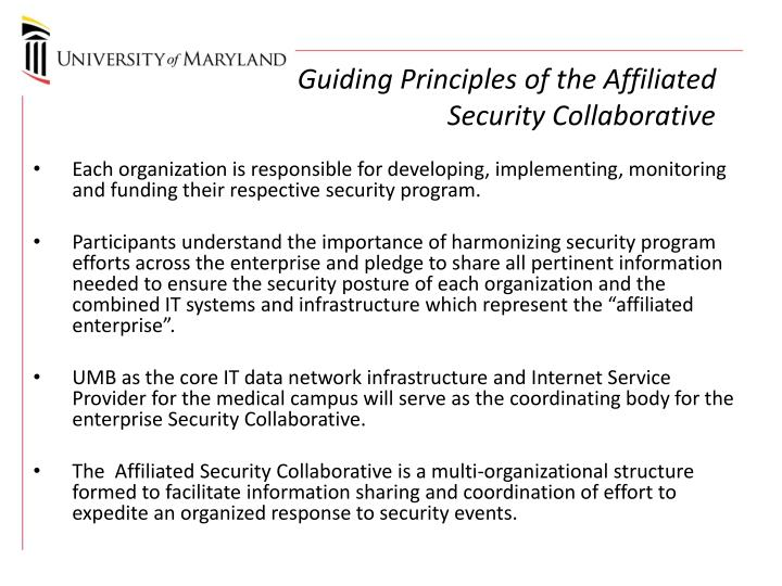 Guiding Principles of the Affiliated Security Collaborative