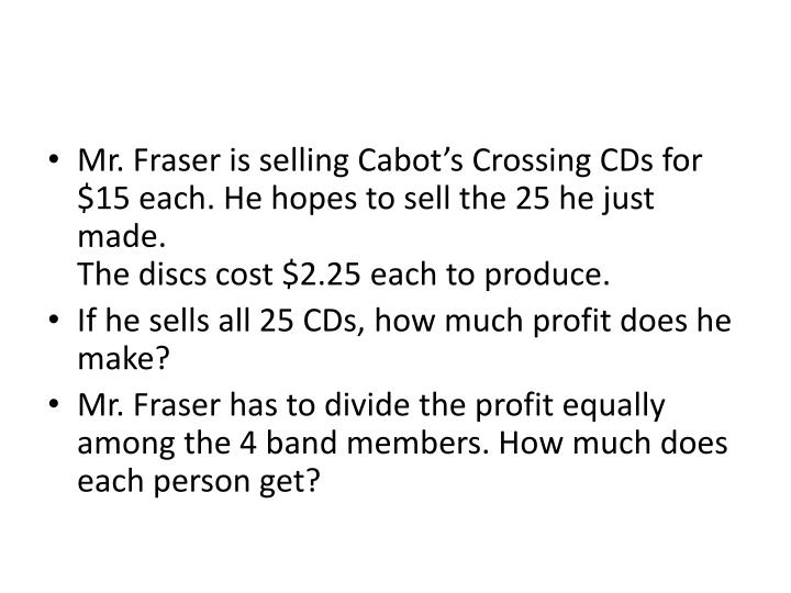 Mr. Fraser is selling Cabot's Crossing CDs for $15 each. He hopes to sell the 25 he just made.