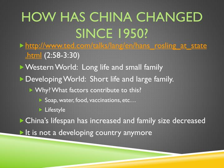 How has china changed since 1950?