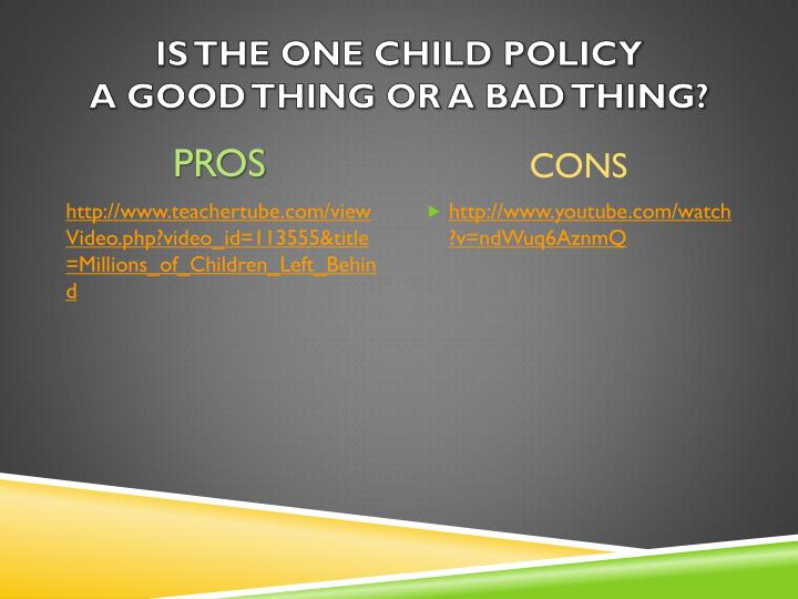Is the one child policy