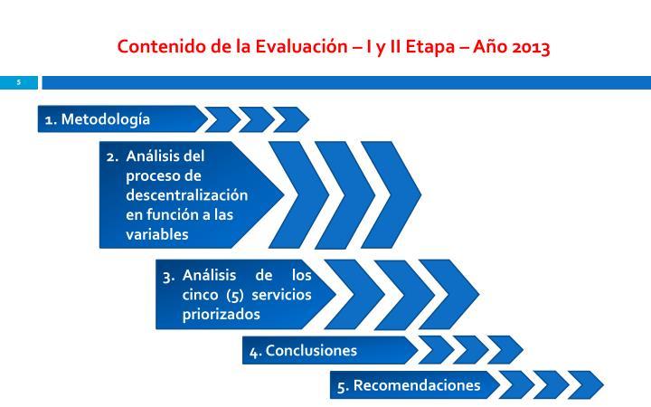 Contenido de la Evaluación – I y II Etapa – Año 2013