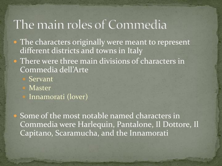 The main roles of Commedia