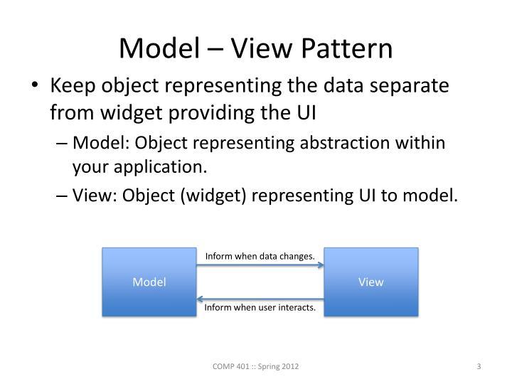 Model – View Pattern