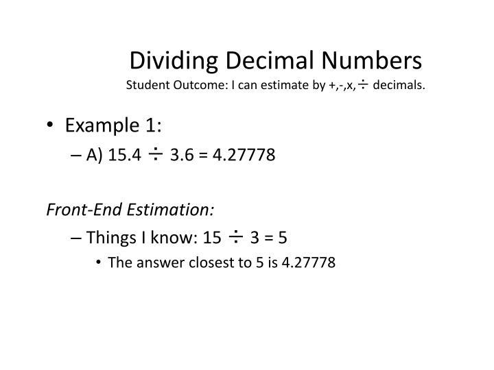 Dividing Decimal Numbers