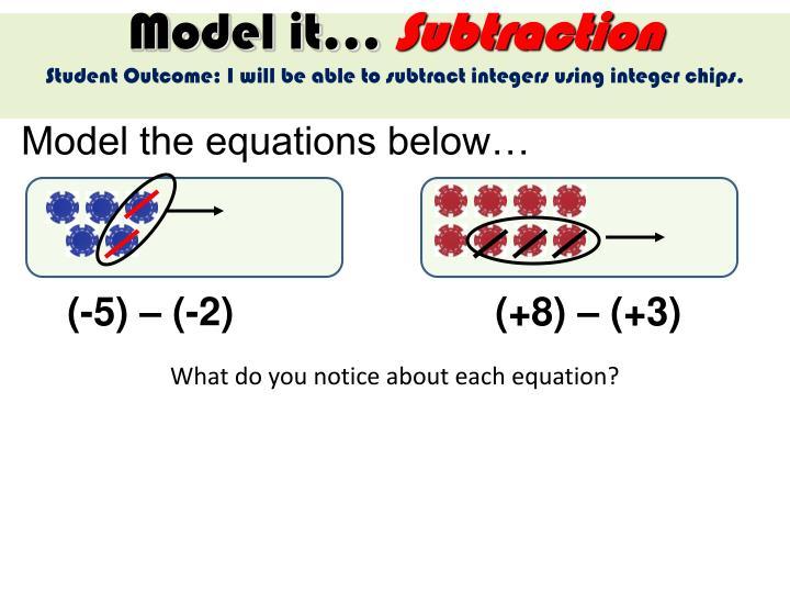 Model the equations below…