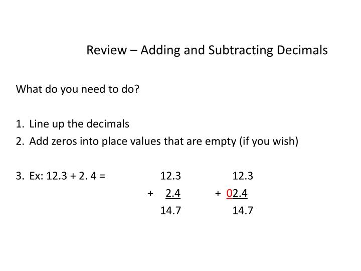 Review – Adding and Subtracting Decimals