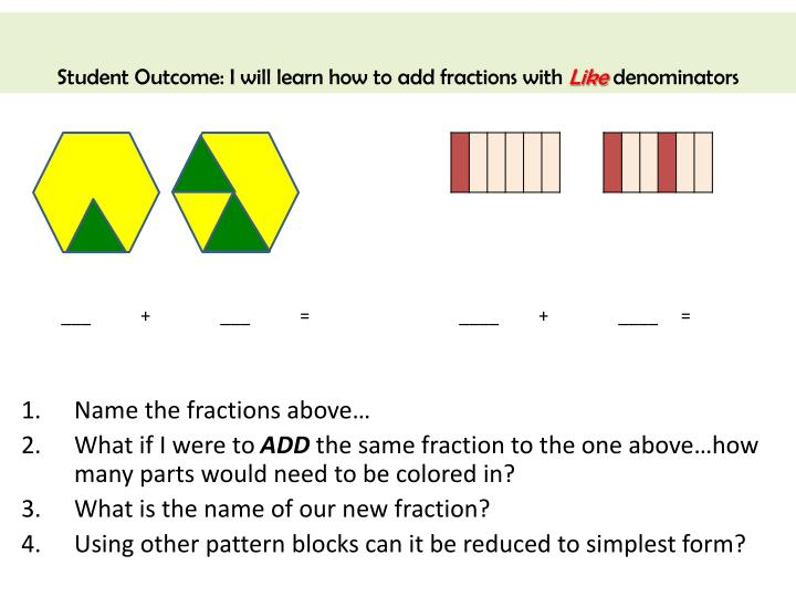 Student Outcome: I will learn how to add fractions with
