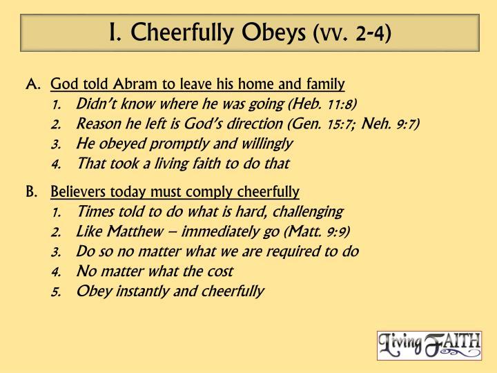 Cheerfully Obeys (vv. 2-4)