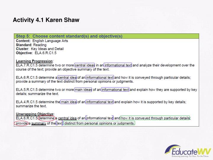Activity 4.1 Karen Shaw
