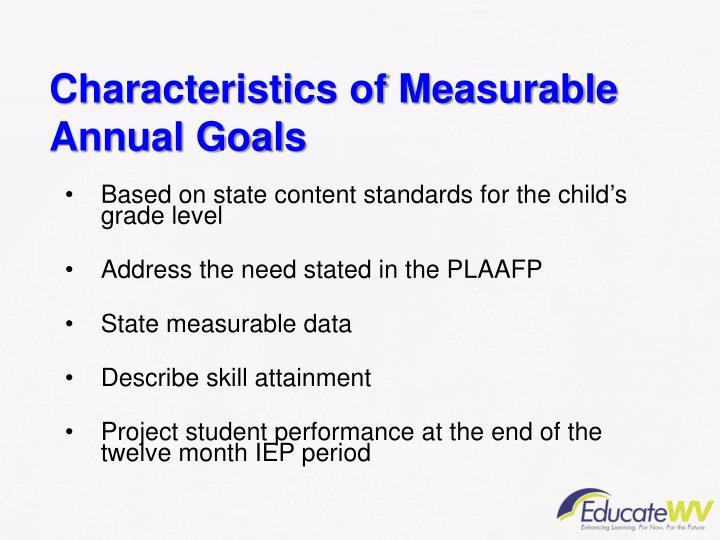 Characteristics of Measurable Annual Goals