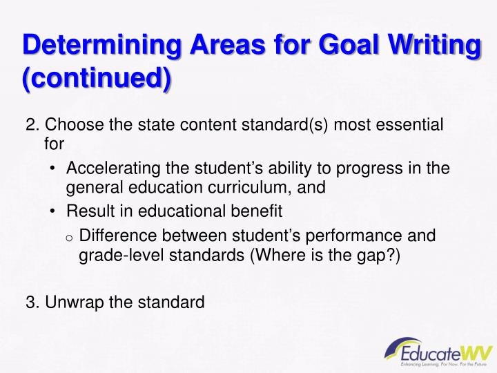 Determining Areas for Goal Writing (continued)