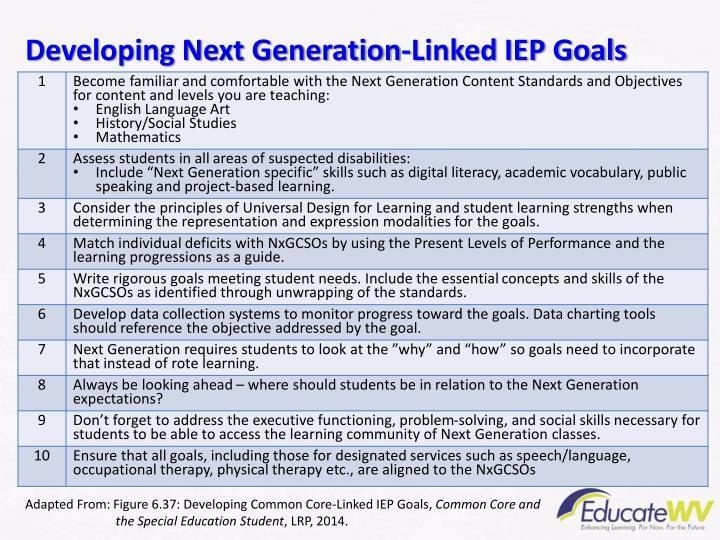 Developing Next Generation-Linked IEP Goals
