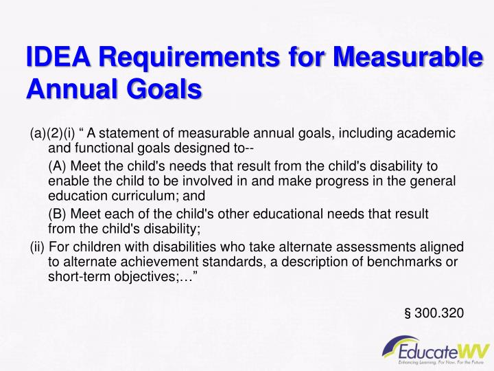 IDEA Requirements for Measurable Annual Goals