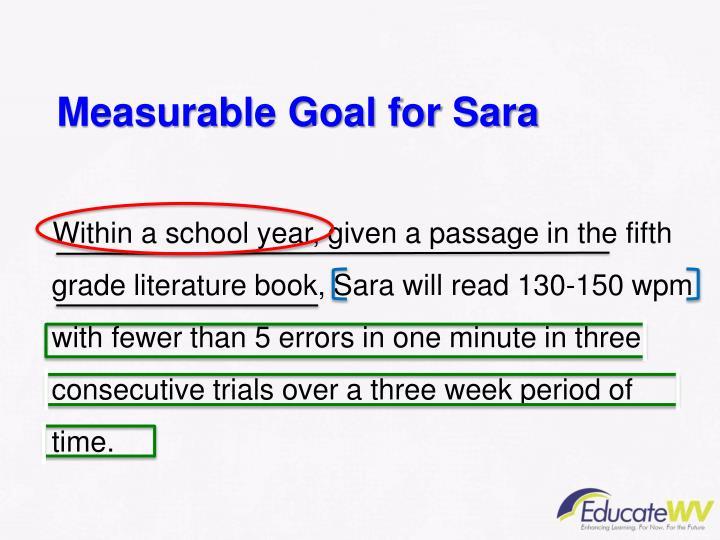 Measurable Goal for Sara