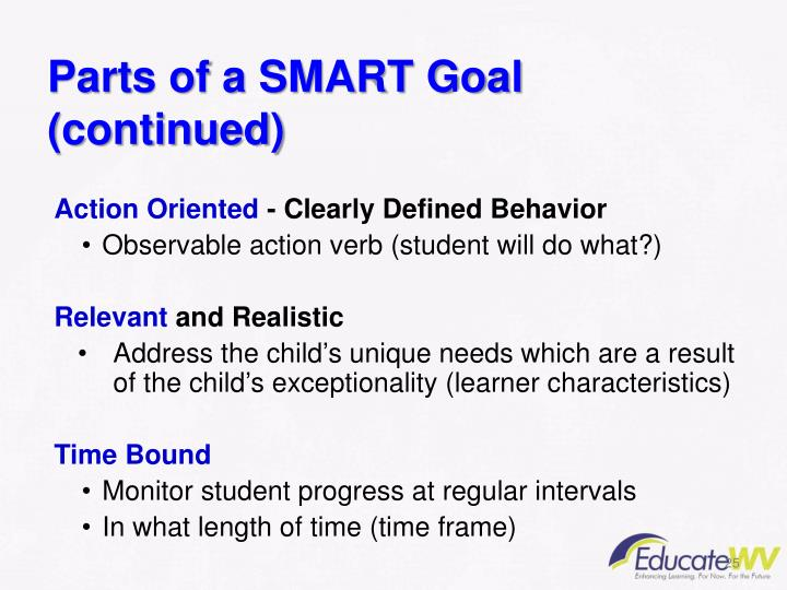 Parts of a SMART Goal  (continued)