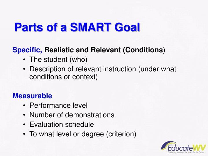 Parts of a SMART Goal
