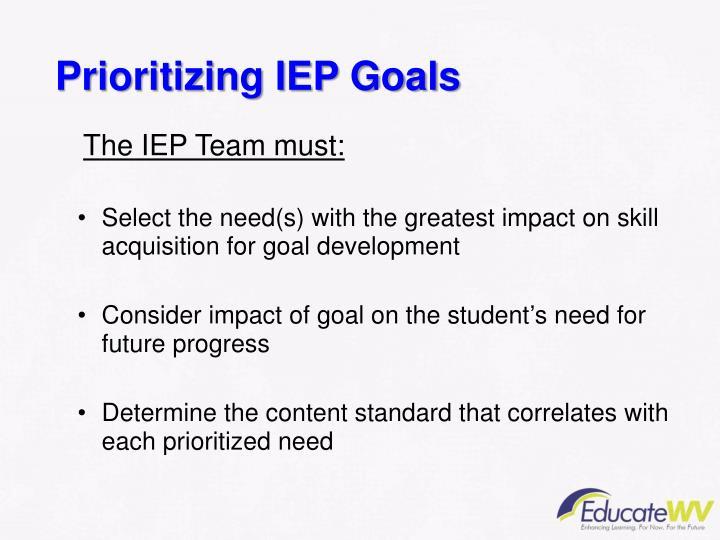 Prioritizing IEP Goals