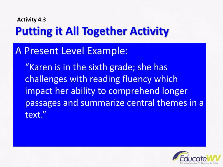 Putting it All Together Activity
