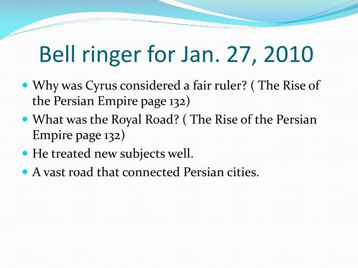 Bell ringer for Jan. 27, 2010