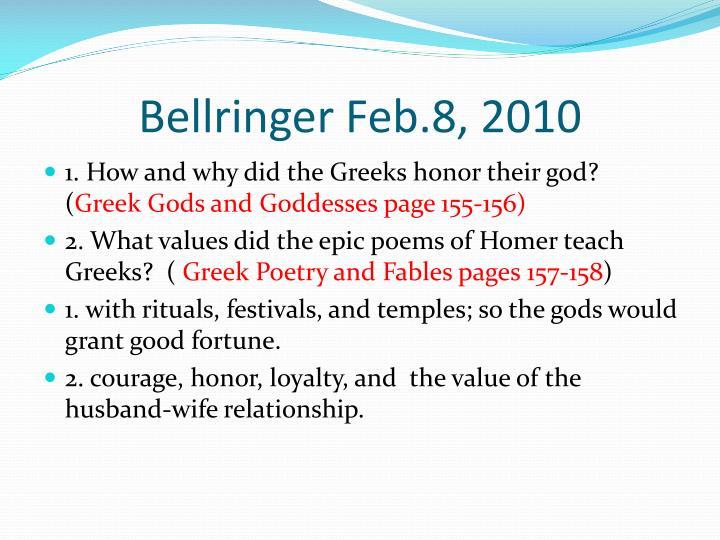 Bellringer Feb.8, 2010