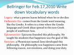 bellringer for feb 17 2010 write down vocabulary words