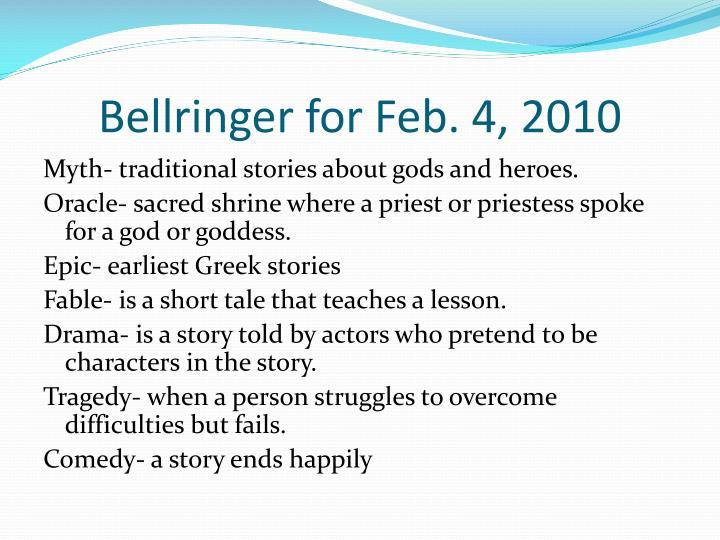 Bellringer for Feb. 4, 2010