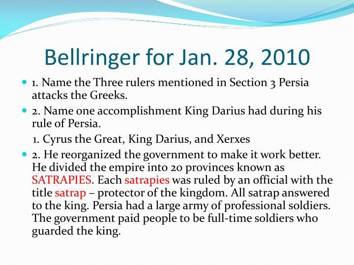 Bellringer for Jan. 28, 2010