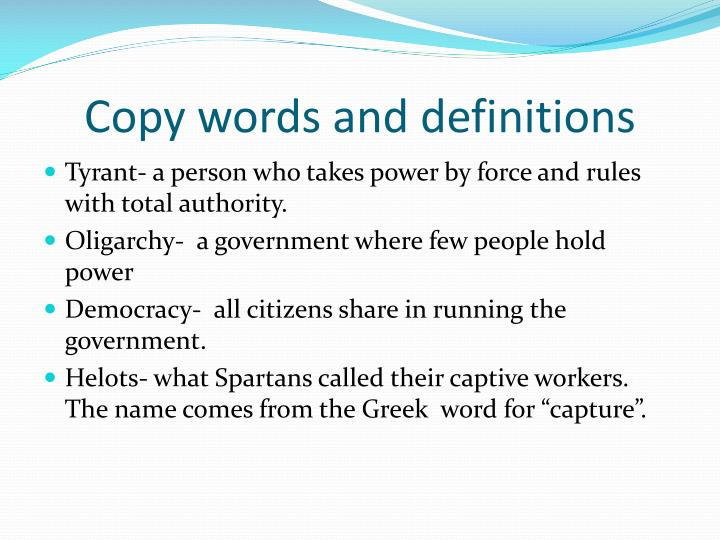 Copy words and definitions