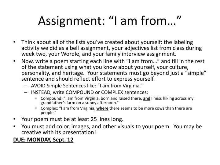 "Assignment: ""I am from…"""