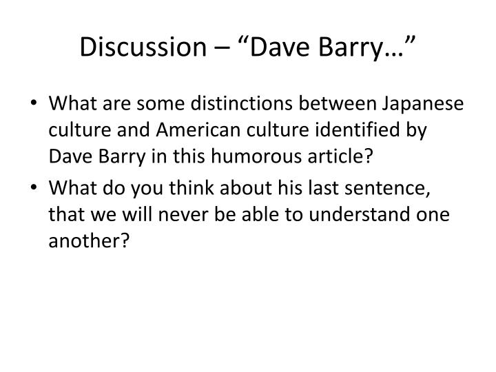 "Discussion – ""Dave Barry…"""