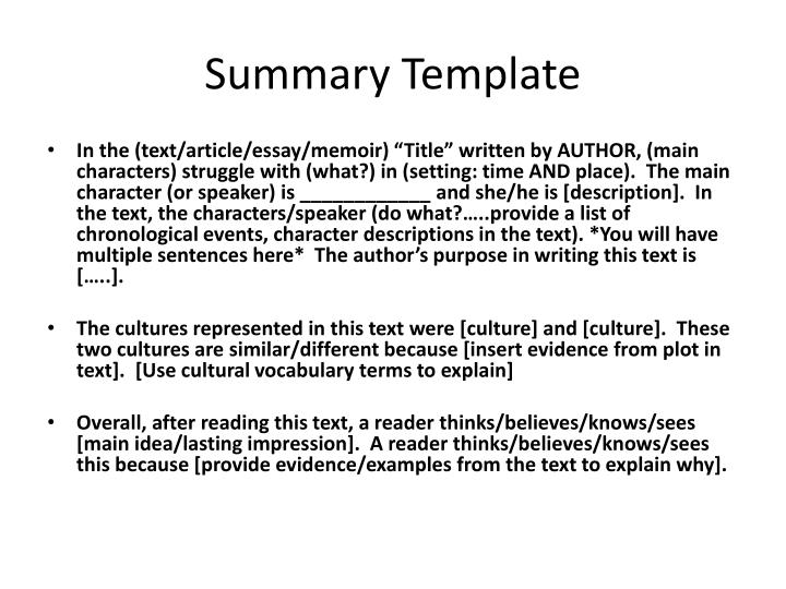 Summary Template