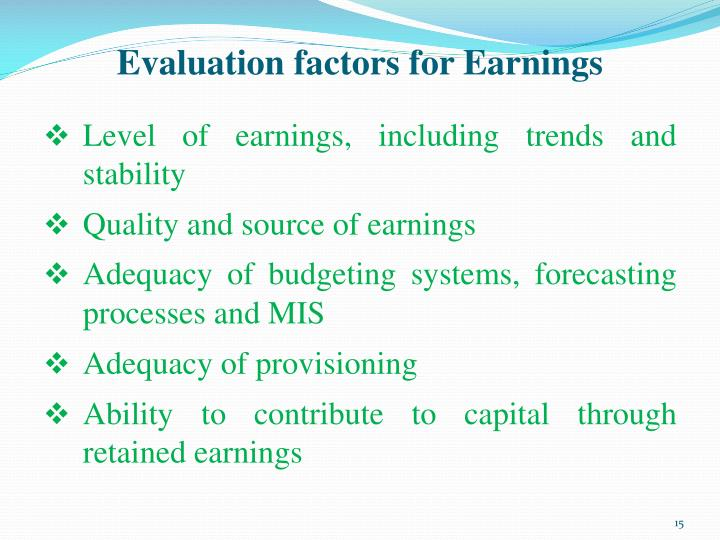 Evaluation factors for Earnings