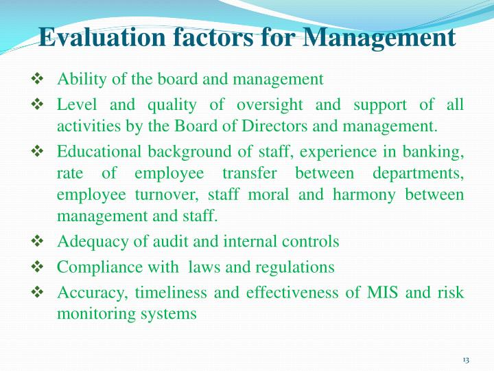 Evaluation factors for Management
