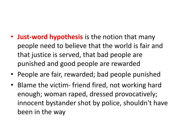 Just-word hypothesis