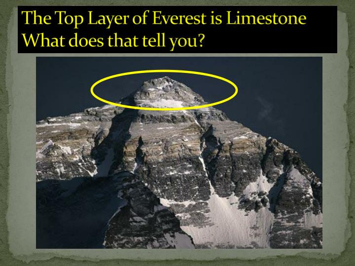The Top Layer of Everest is Limestone