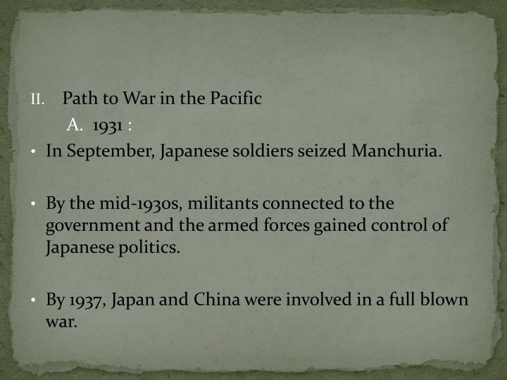 Path to War in the Pacific