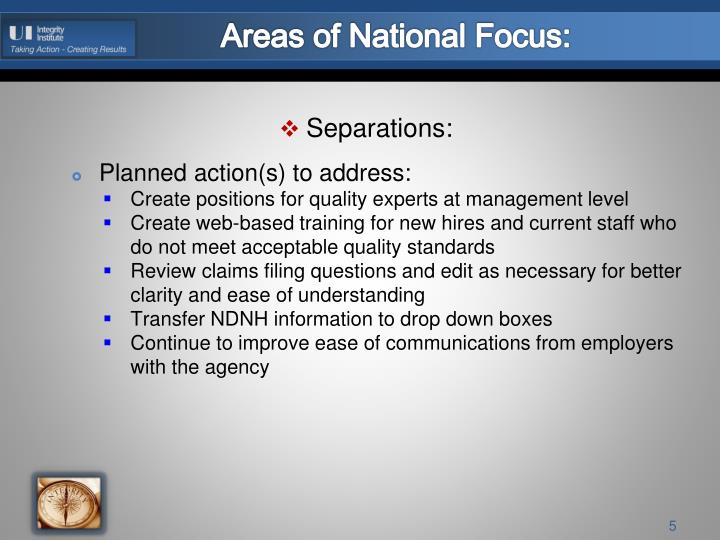 Areas of National Focus: