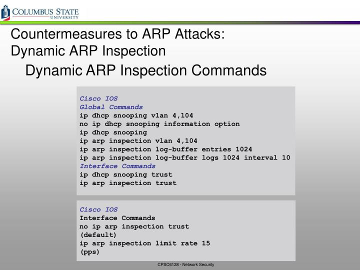 Countermeasures to ARP Attacks: