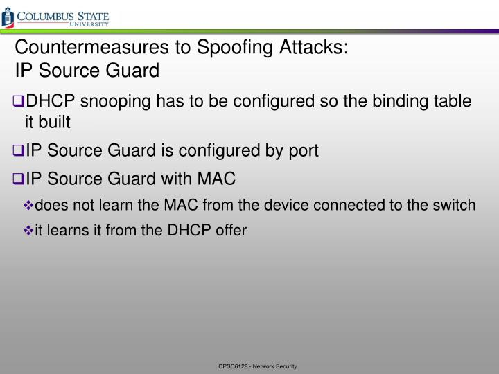 Countermeasures to Spoofing Attacks:
