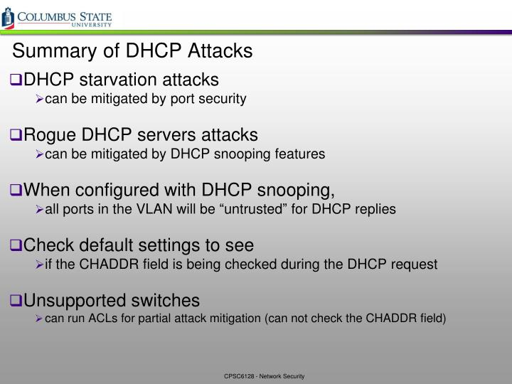 Summary of DHCP Attacks