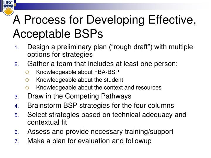 A Process for Developing Effective, Acceptable BSPs