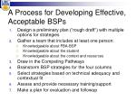 a process for developing effective acceptable bsps